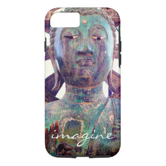 """Imagine"" Quote Asian Turquoise Statue Head Photo iPhone 8/7 Case"