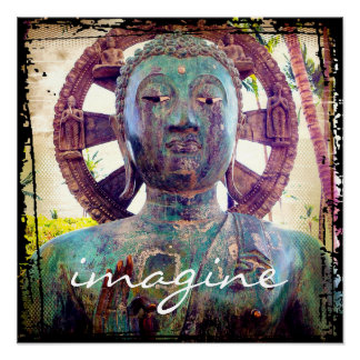 """Imagine"" Quote Asian Turquoise Statue Head Photo Poster"
