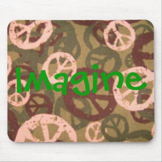 Imagine-Retro-Peace Signs/Camo Look Mousepad