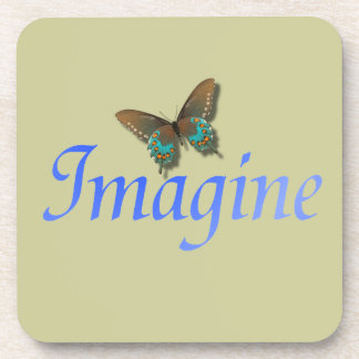 Imagine with Butterfly Beverage Coaster