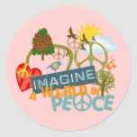 Imagine World Peace Round Sticker