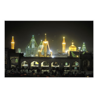 Imam Reza Shrine Complex at night, Mashhad, Photographic Print