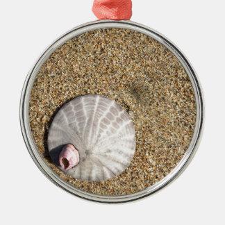 IMG_0578.JPG  Sandollar seashell on beach Metal Ornament