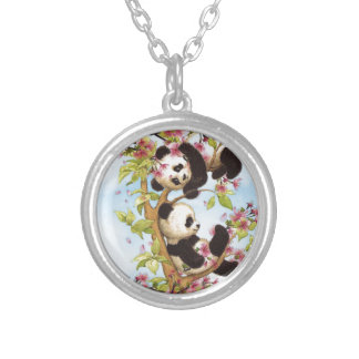 IMG_7386.PNG  cute and colorful panda designed Silver Plated Necklace