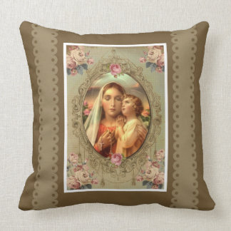 Immaculate Heart Mary Child Jesus rosary roses Throw Pillow