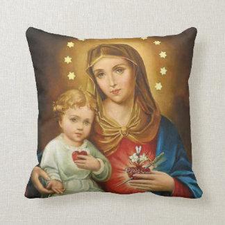 Immaculate Heart Mary Fatima Angels Monstrance Cushion
