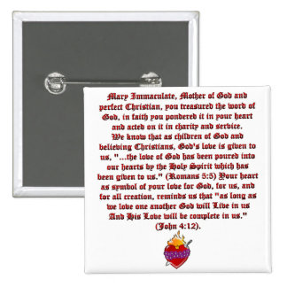 Immaculate Heart of Mary 15 Cm Square Badge