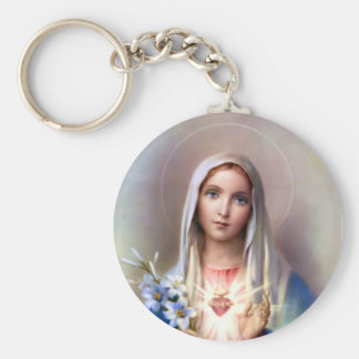 Immaculate Heart of Mary Basic Round Button Key Ring
