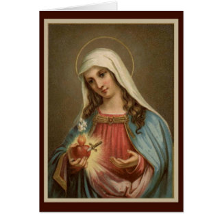 Immaculate Heart of Mary Birthday w/sword lilies Greeting Card