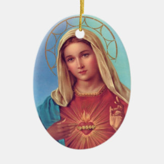 Immaculate Heart of Mary Ceramic Oval Decoration