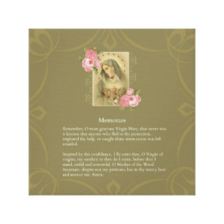 Immaculate Heart of Mary Pink Roses - Memorare Canvas Print