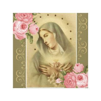 Immaculate Heart of Mary Pink Roses with Lilies Canvas Print
