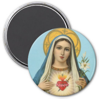 Immaculate Heart of Mary - roses, lily, sword 7.5 Cm Round Magnet