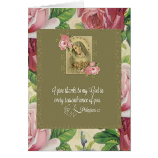 Immaculate Heart of Mary - roses/scripture Note Card