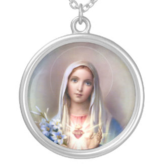 Immaculate Heart of Mary Round Pendant Necklace
