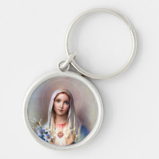 Immaculate Heart of Mary Silver-Colored Round Key Ring