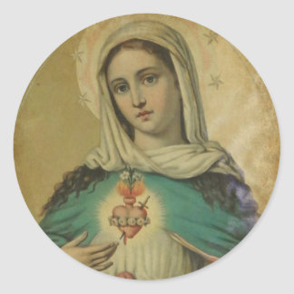 Immaculate Heart of Mary  Sorrowful Mother Classic Round Sticker