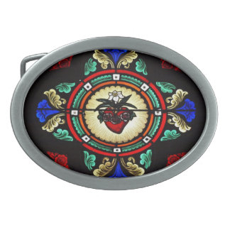 Immaculate Heart of Mary (stained glass) Buckle Oval Belt Buckle