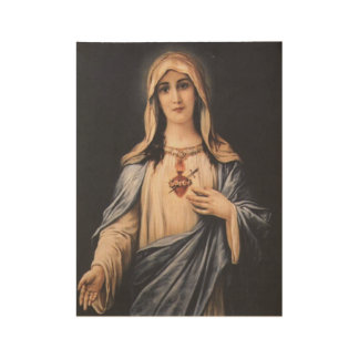 Immaculate Heart of Mary Virgin Mother Wood Poster