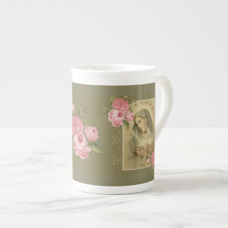 Immaculate Heart of Mary w Pink Roses Tea Cup