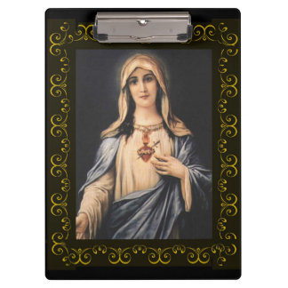 Immaculate Heart of Mary with black.gold border Clipboards