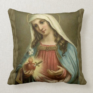 Immaculate Heart Virgin Mary Angels Clouds Cushion