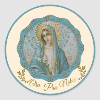Immaculate Virgin Mary Vintage Lily Latin Classic Round Sticker