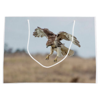 Immature Red Tailed Hawk Hovering Large Gift Bag