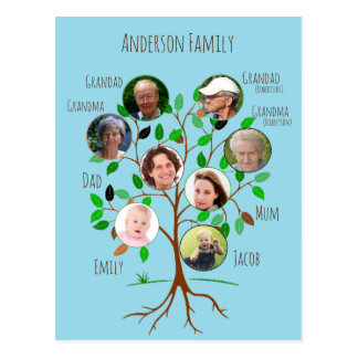 Immediate Family Photo Tree Postcard