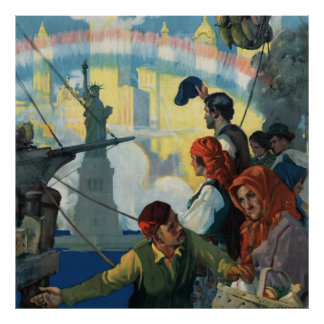 Immigrants and The Statue of Liberty Artwork Poster