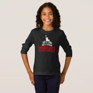 Immigrants Welcome Girl's Dark Long Sleeve T-Shirt