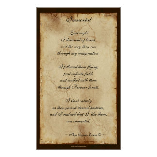 """""""Immortal"""" Horse Lover Spiritual Poetry Poster"""