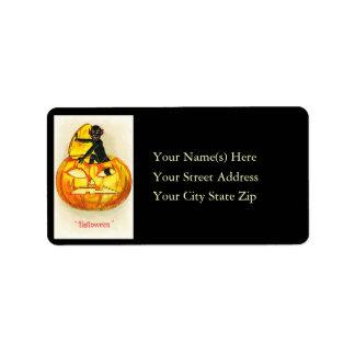 Imp in Jack O Lantern Vintage Address Label