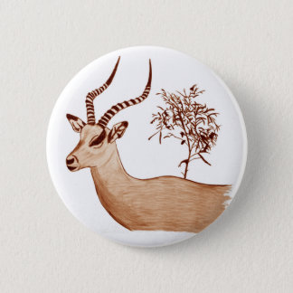 Impala Antelope Animal Wildlife Drawing Sketch 6 Cm Round Badge
