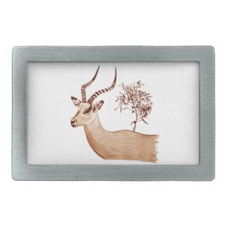 Impala Antelope Animal Wildlife Drawing Sketch Belt Buckle