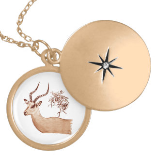 Impala Antelope Animal Wildlife Drawing Sketch Gold Plated Necklace