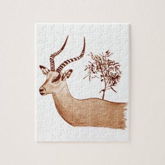 Impala Antelope Animal Wildlife Drawing Sketch Jigsaw Puzzle