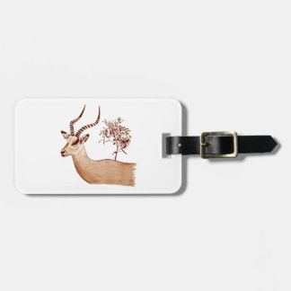 Impala Antelope Animal Wildlife Drawing Sketch Luggage Tag