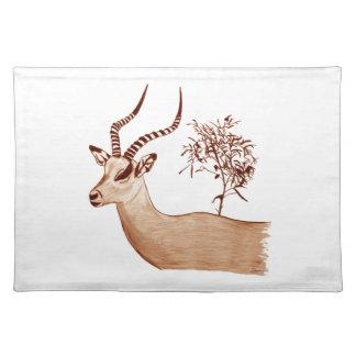 Impala Antelope Animal Wildlife Drawing Sketch Placemat