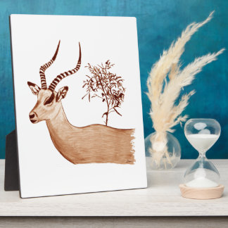 Impala Antelope Animal Wildlife Drawing Sketch Plaque