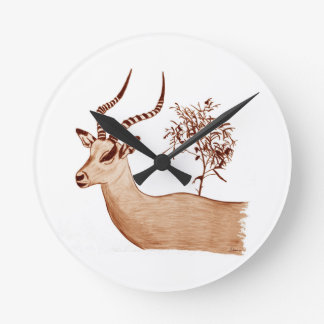 Impala Antelope Animal Wildlife Drawing Sketch Round Clock