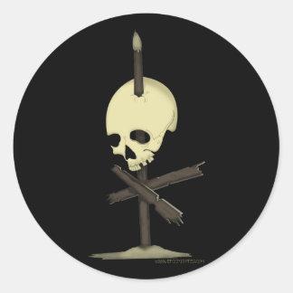 Impaled Skull Round Sticker