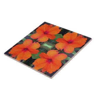 Impatiens Flower Pattern Large Square Tile
