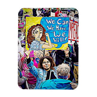 "Impeach Trump, ""We Can"" Women's March Protester Rectangular Photo Magnet"