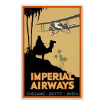 Imperial Airways ~ England - Egypt - India Posters