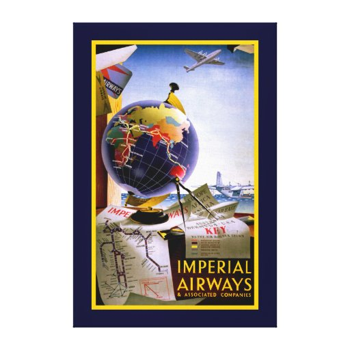 Imperial Airways Globe Stretched Canvas Prints