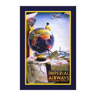 Imperial Airways Globe Gallery Wrapped Canvas