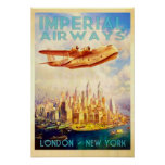Imperial Airways London & New York Vintage Travel Poster