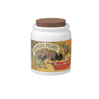 Imperial Plums Felix Potin Miramont VIntage Crate  Candy Jars