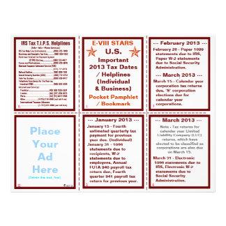 Important 2013 Tax Dates / Helplines Pamphlet 21.5 Cm X 28 Cm Flyer